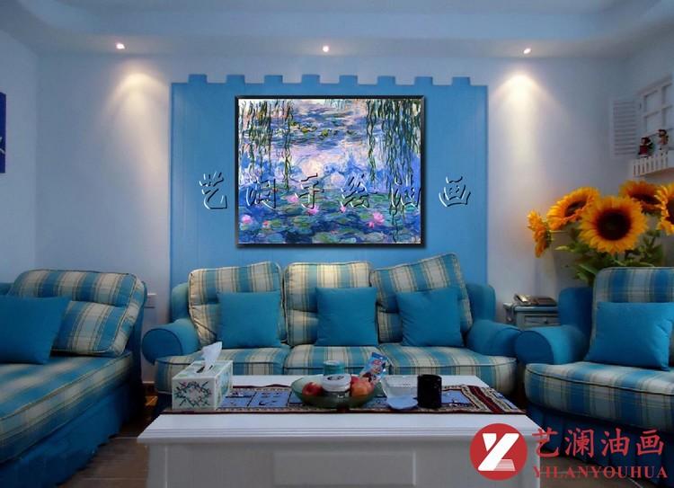 简单手绘蓝色墙画