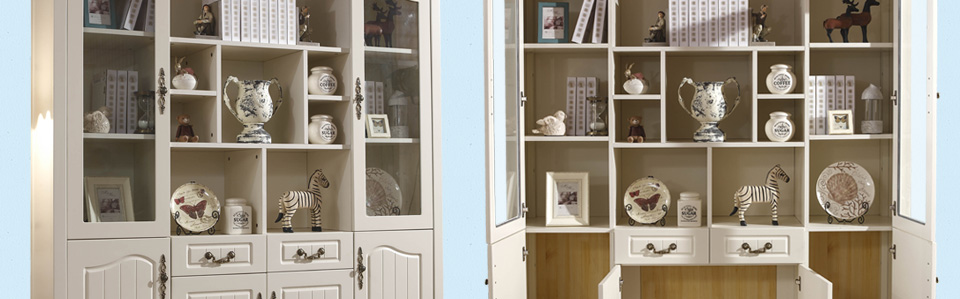 伊诺亚 地中海实木书柜田园玻璃门书橱简易书架格子柜子美式组合展示图片