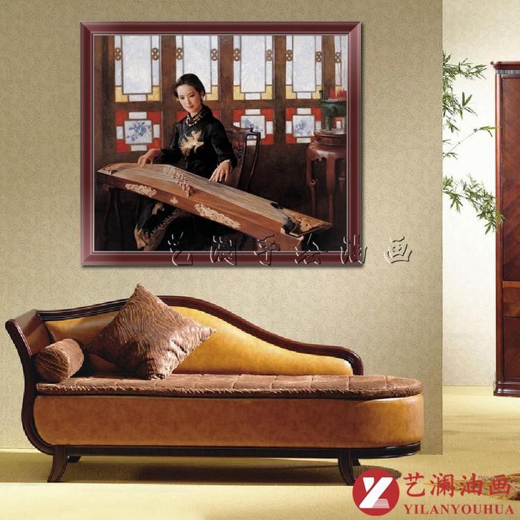 艺澜中式古典美女古筝演凑人物油画