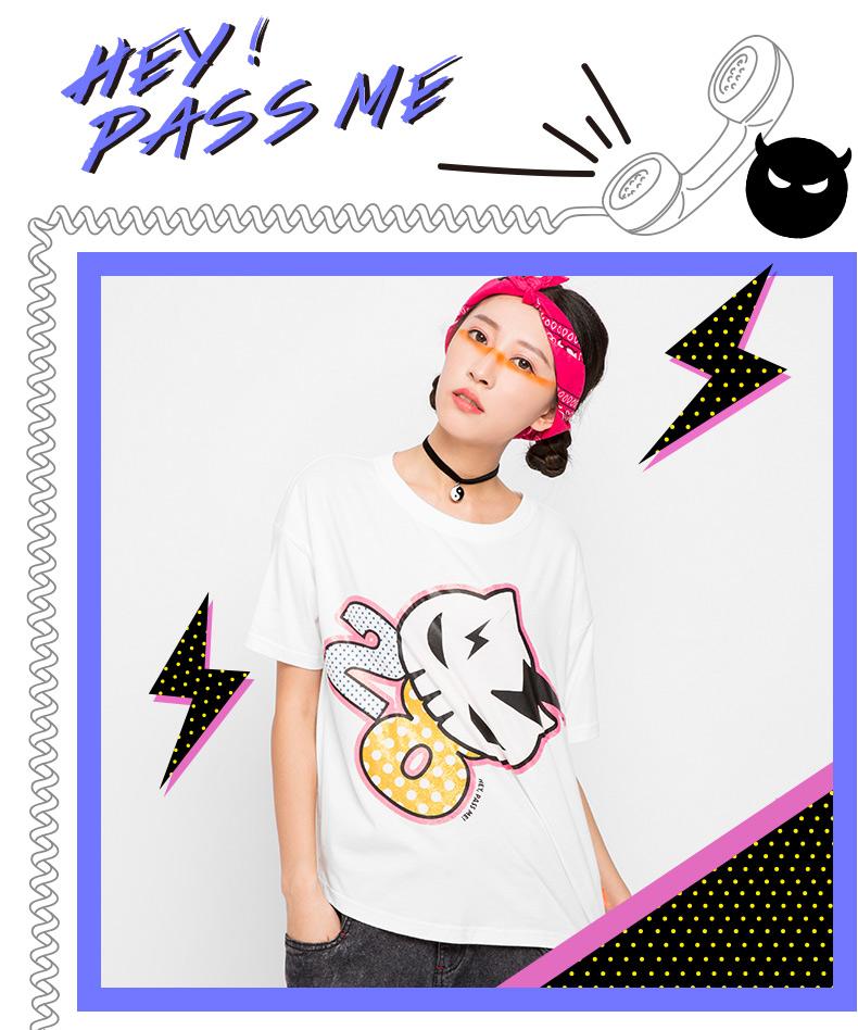 pass原创潮牌女装夏装 可爱卡通印花短袖t恤女6520131144 亮黄色 m