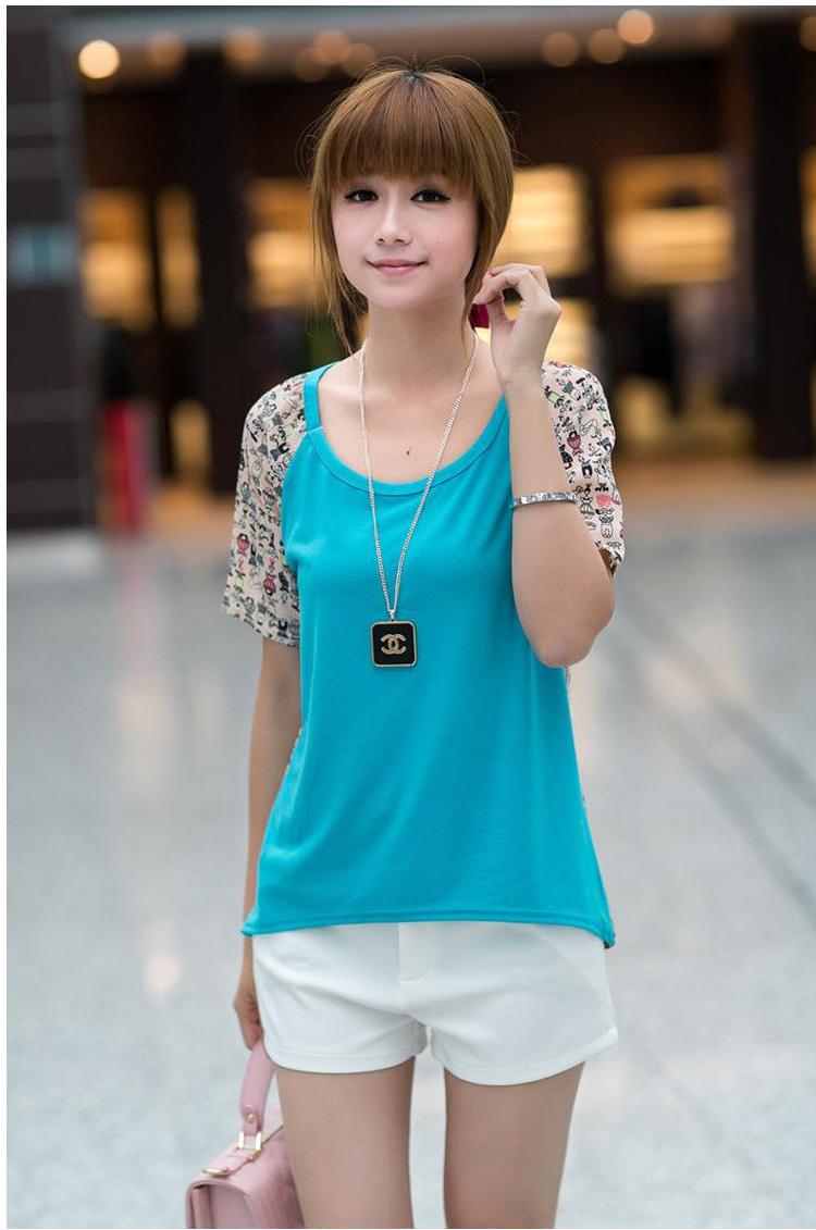 格尚美 夏装新款韩版百搭后背可爱小人印花图案拼接雪纺衫短袖t恤