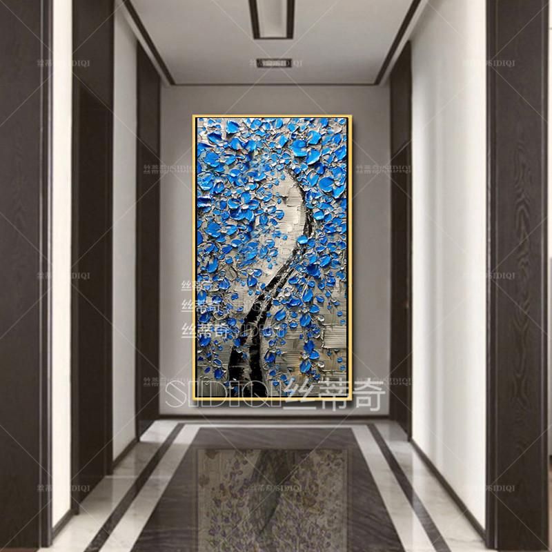 丝蒂奇sidiqi现代家居油画欧式玄关手绘抽象挂画走廊时尚花卉装饰画酒