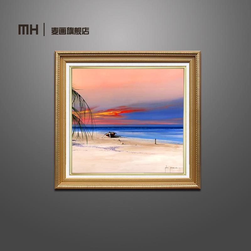 欧式现代纯手绘油画海景风景画客厅挂画卧室壁画玄关有框装饰画正方形