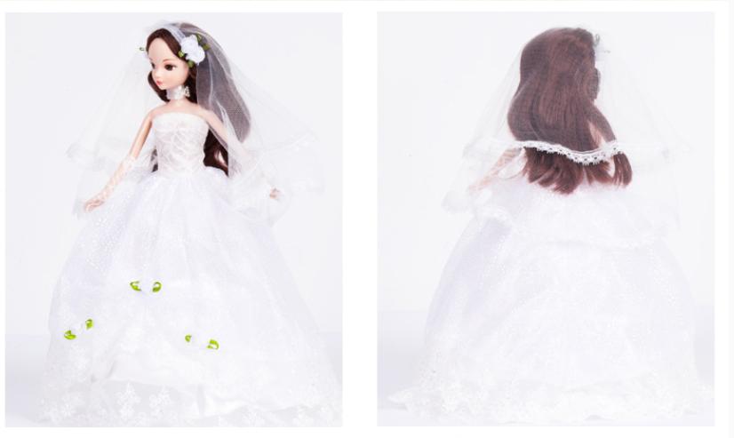 可爱卡通芭比娃娃婚纱 公主关节体洋娃娃蔷薇新娘女孩