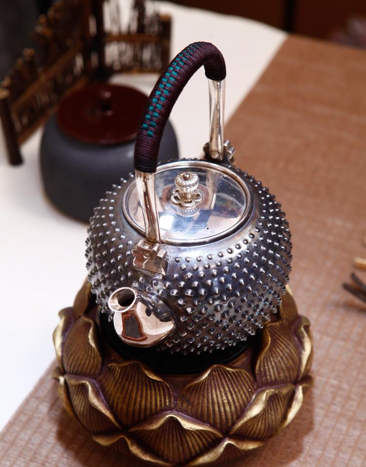 纯银茶具凸点提梁银壶烧水茶壶手工制作精品银器泡茶壶