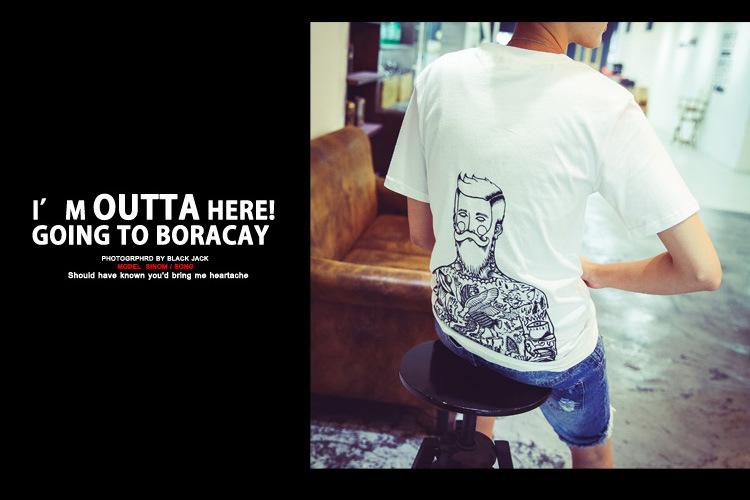 2015夏季新品韩版复古短袖t恤独特人物纹身图案t恤 白色 l