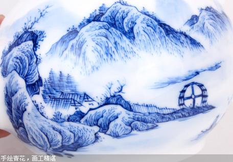 元水堂 青花瓷茶壶 南山 手绘青花 陶瓷壶 精品 功夫茶具 220ml