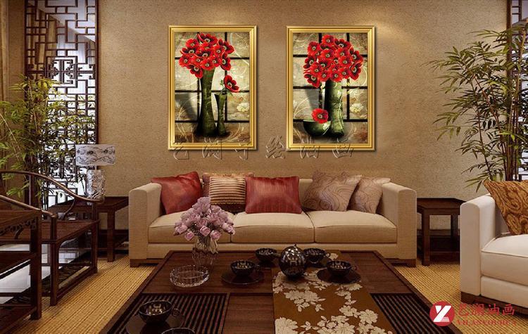 艺澜墨绿色花瓶红花家居装饰品壁挂油画 纯手工绘画客厅卧室餐厅mj259