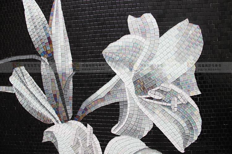 【玛雅拼图】百合冰玉玻璃马赛克精剪画玄关走廊马赛克拼图背景墙