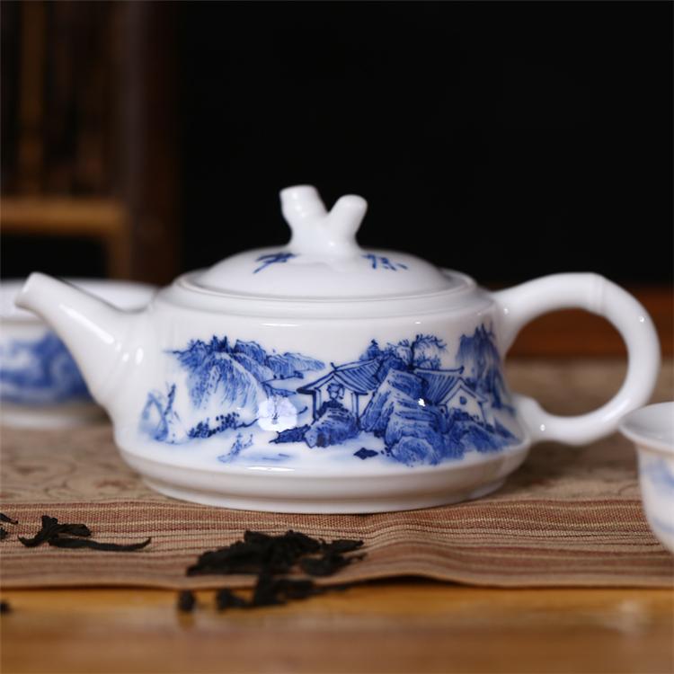 鹤礼 景德镇手绘陶瓷茶壶 青花山水 200ml