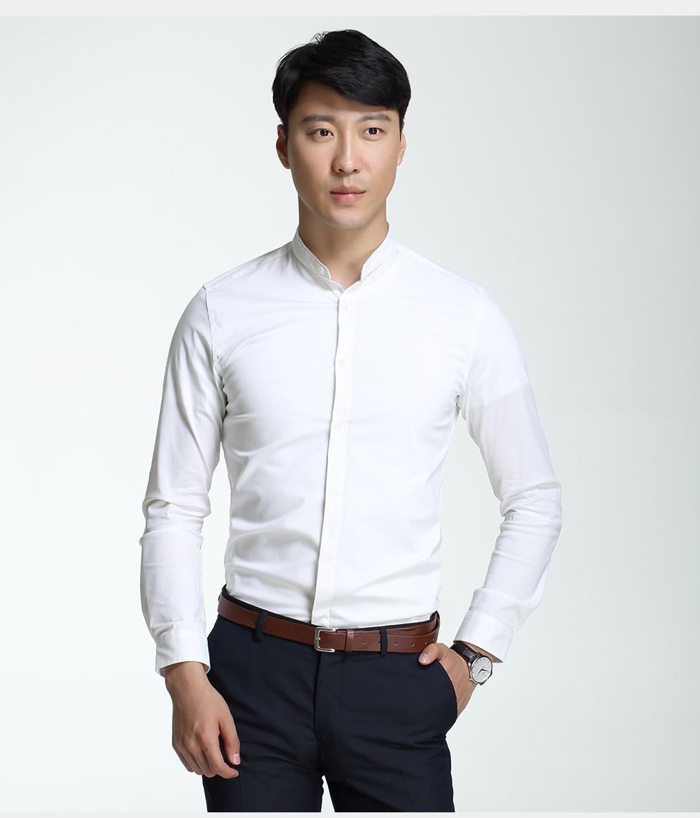 木客棉mcmv 2015秋装男士立领长袖衬衫韩版修身弹力白