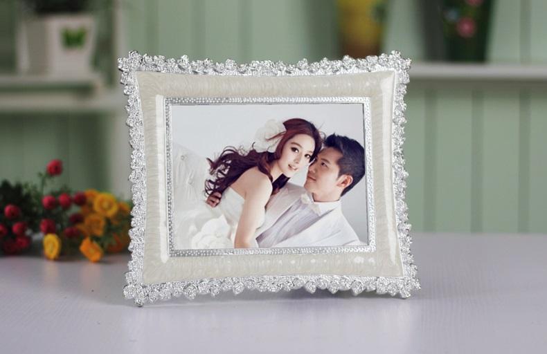 7寸田园珍珠创意相框摆台 儿童婚纱照片 欧式影楼婚庆婚礼画架 黄色 8