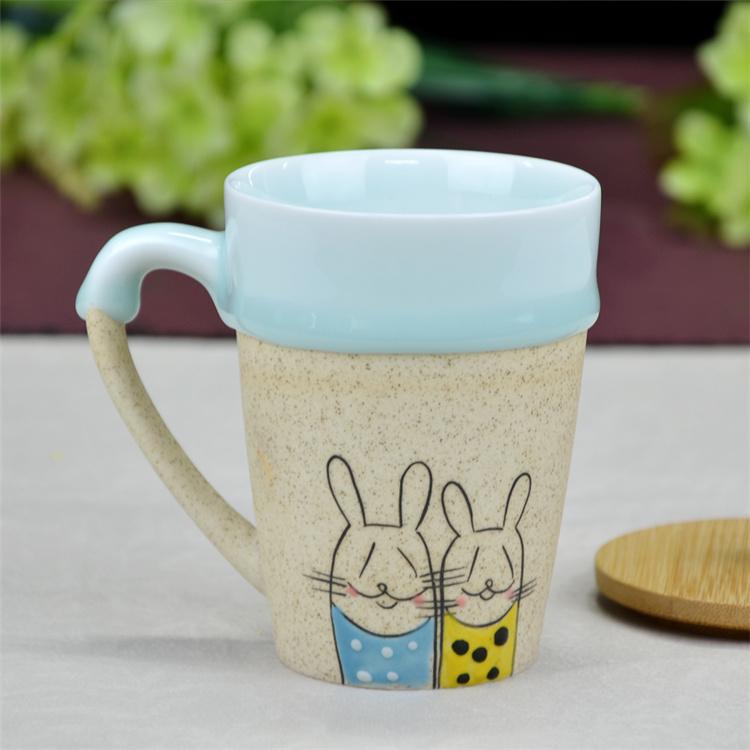 鹤礼 景德镇创意手绘陶瓷 办公室咖啡杯 水杯 带木盖子和勺子 260ml