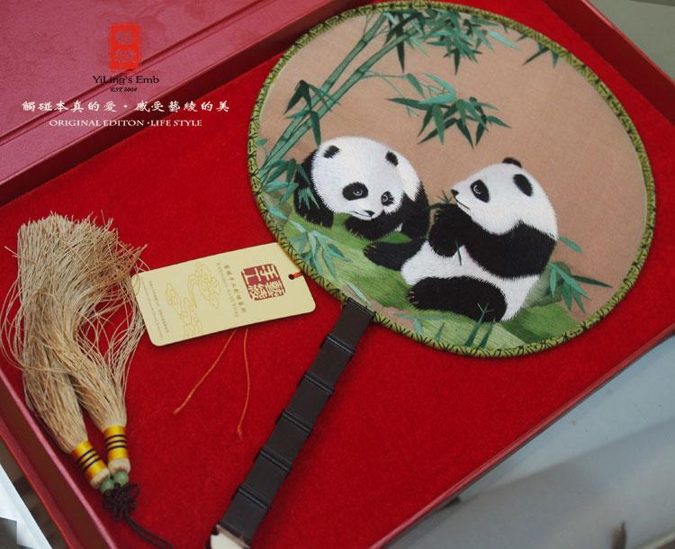艺绫手工刺绣 绣花团扇熊猫动物款 双面绣苏绣宫扇绢扇圆扇子 出国