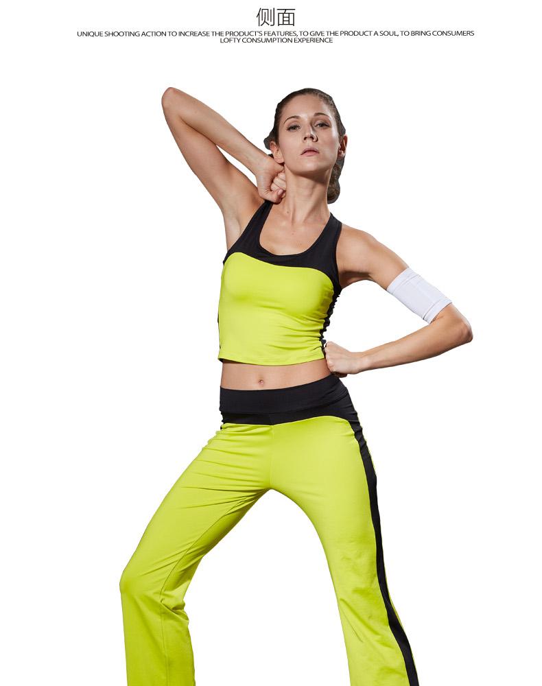 路伊梵 2015夏季新品 女式健身服装 瑜伽服套装 荧光绿 黑 xl