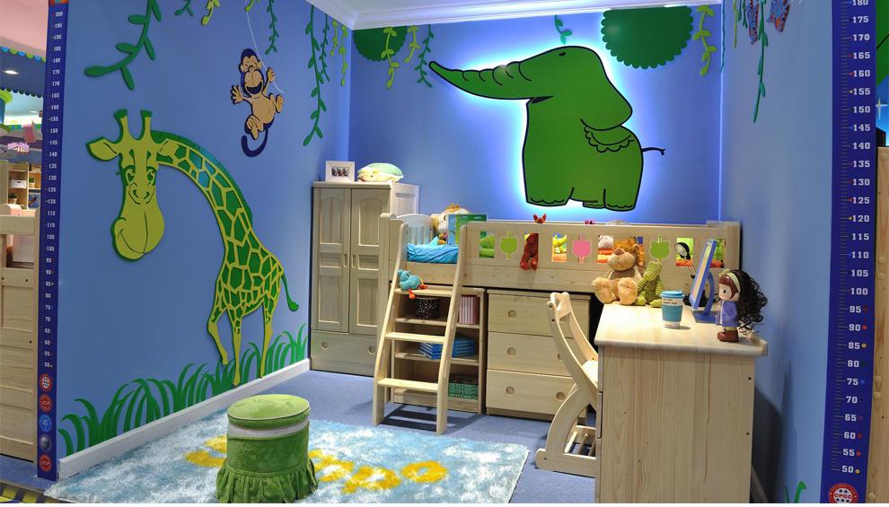京巢儿童家具 松木实木儿童床木质扶梯半高床 护栏童床上床下柜带组合