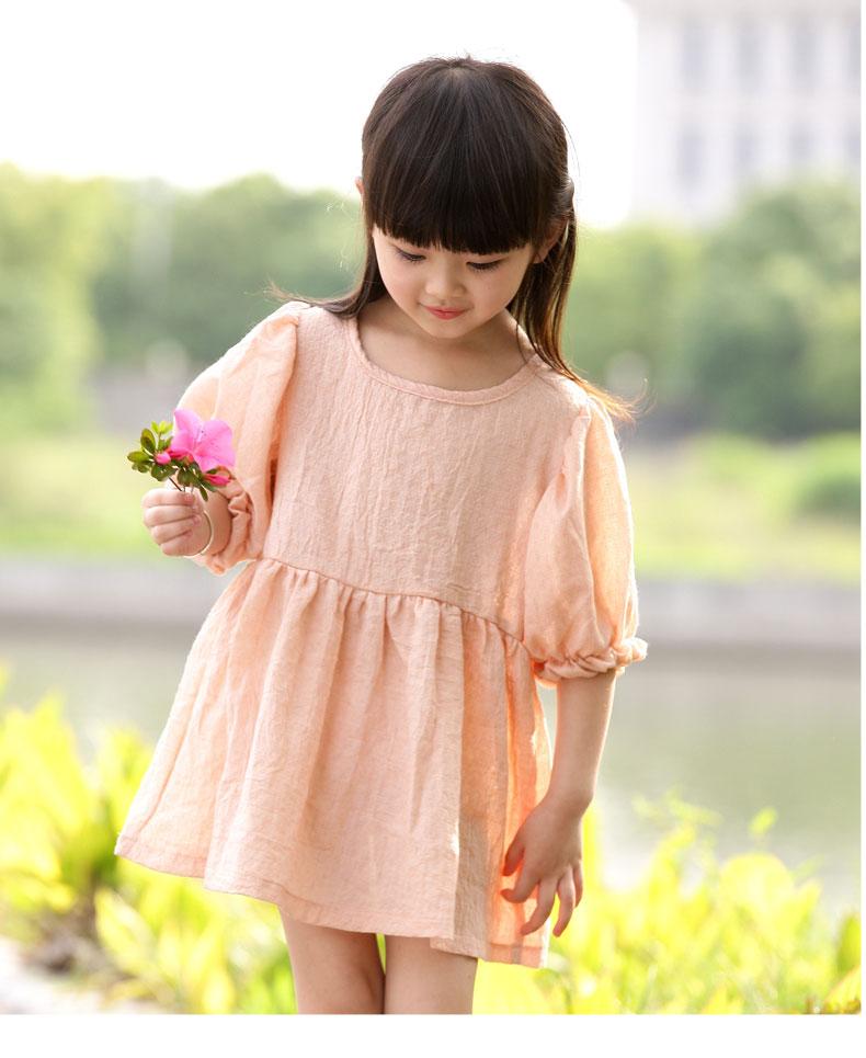童装女童棉麻连衣裙夏装2015儿童春装中童裙子小女孩图片