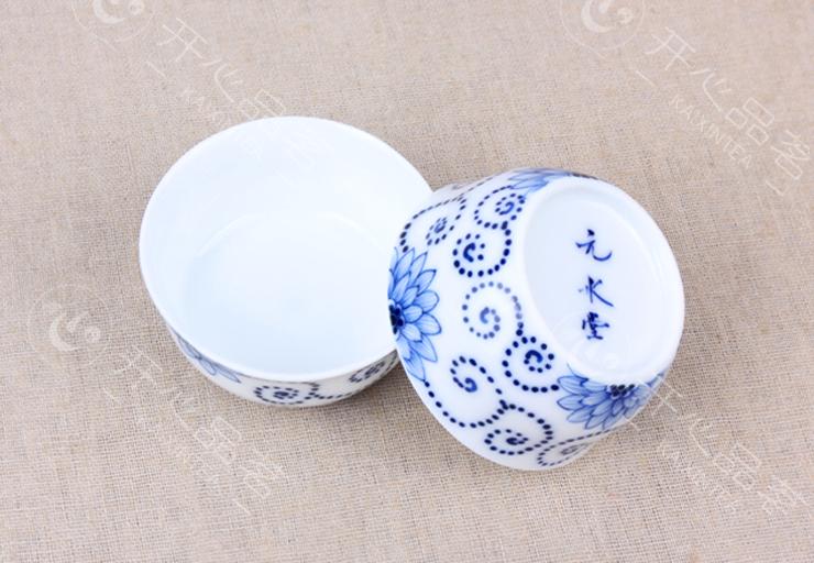 元水堂 茶具 手绘缠枝莲 小茶杯 青花瓷茶碗 陶瓷 品茗杯 35ml