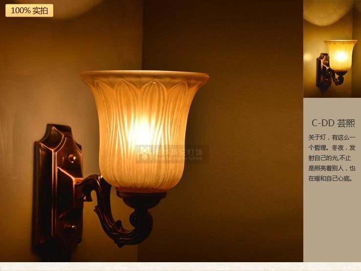 尚华英伦 欧式壁灯卧室床头美式客厅灯具仿铜 配送led图片