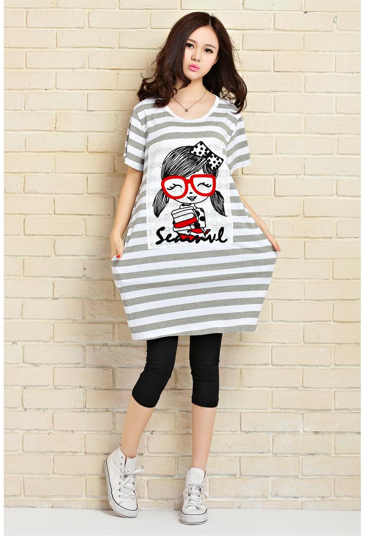 2015夏季新款韩版宽松大码t恤条纹眼镜女孩2263 黑色