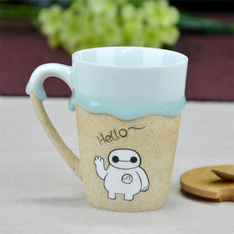 鹤礼景德镇创意手绘陶瓷办公室咖啡杯水杯带木盖子和
