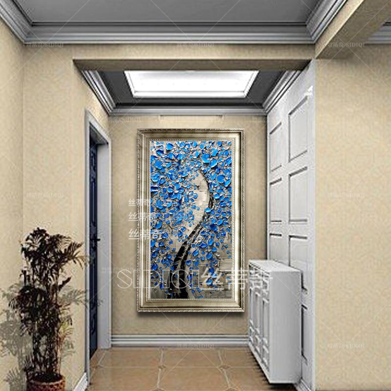 丝蒂奇sidiqi现代家居油画欧式玄关手绘抽象挂画走廊时尚花卉装饰画