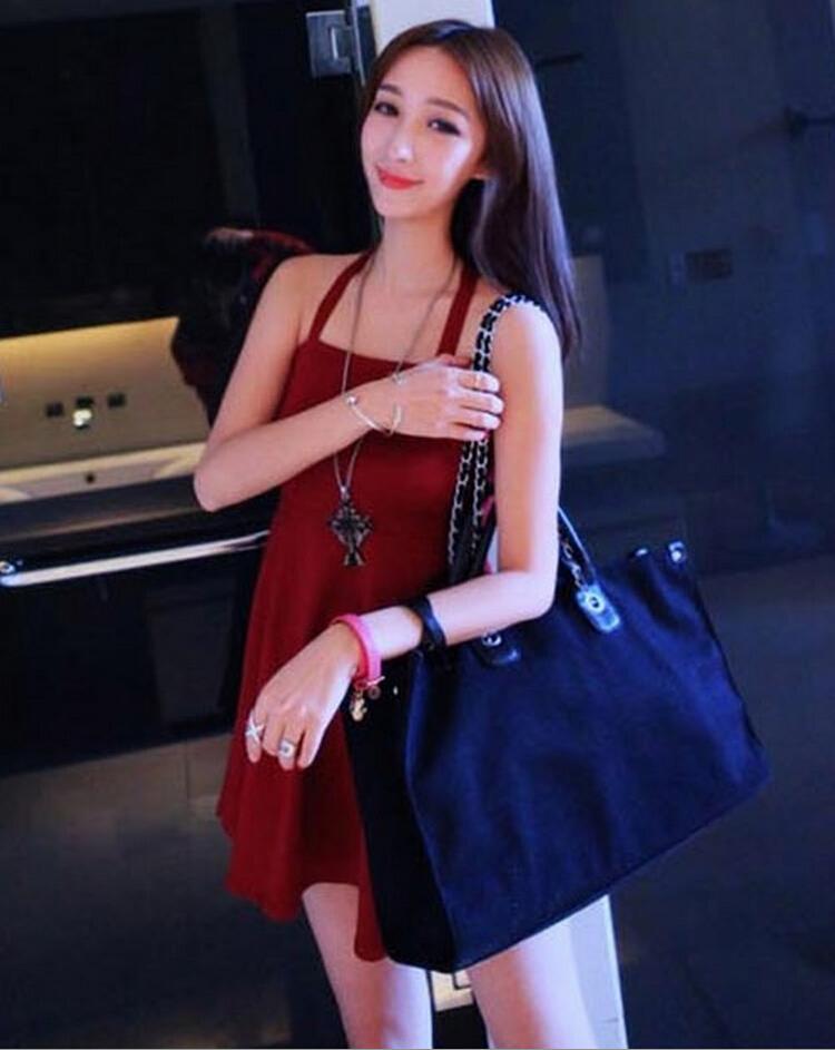 无袖抹胸低胸修身显瘦性感多穿吊带裙 3949 酒红色 均码