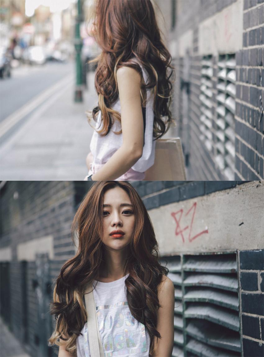 pinkage 假发女长卷发彩色发片漂染装饰加长假发片接发一片式女无痕