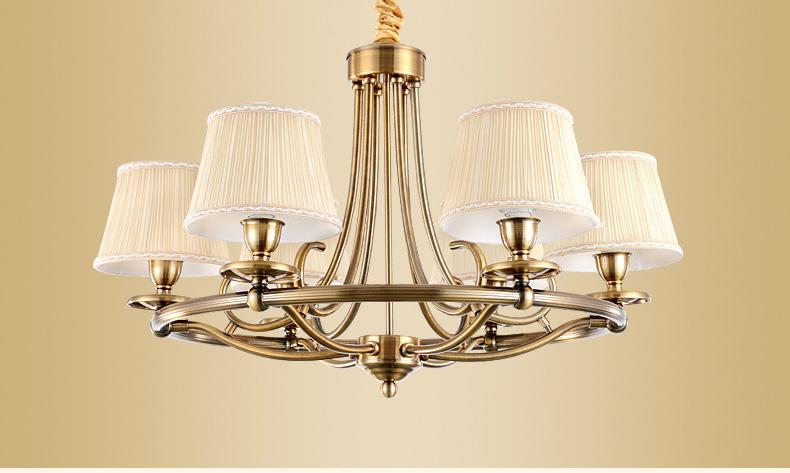 美式吊灯客厅灯欧式卧室书房灯具复古田园灯具仿古铜灯md9010 8头图片