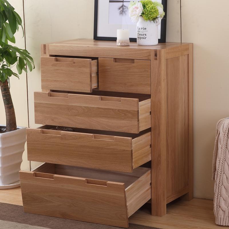 实木储物柜 橡木五斗橱 抽屉柜子 玄关柜 卧室柜 收纳柜子 原木色白橡
