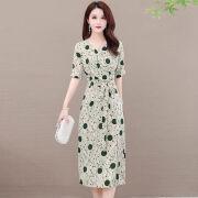 【Xiaxinドレス】2021年ウエストウエスト薄めのレディース半袖若い母親の年齢を減らすスカートの女性[ショッピングモールと同じスタイル]グリーン[560] L 85-100kgのフレンチドレス