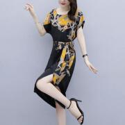 【Xiaxinドレス】2021ドレス、ウエスタンスタイル、ファッショナブルなレディースドレス、気質、シフォンドレス、ゆったりとしたお腹、痩身、お尻、ラージサイズのレディースドレス[ショッピングモールでも同じスタイル]オレンジ3XLの提案[165-170 kg]