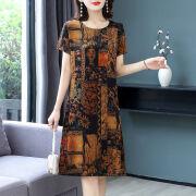 【上質なアイスシルクドレス女性】2021年夏新作シンプルカバーミート【ドレス】2021アイスシルクレトロプリントドレスアイスシルクファッション中年マザードレス301ドレスブラック2XL推奨125〜140kg