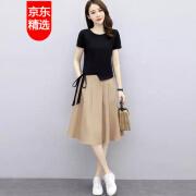 【高品質ドレス】2021ニュースタイルプラスサイズドレス半袖レディース2021ニュースタイルサマーファッション韓国スタイルプラスサイズルーズスカートスーツ2スカート3XL
