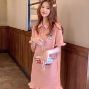 刺繍入りドレス女性2021年新作韓国カジュアル半袖ドレスミドル丈ドレスサマーTシャツスカートコットンピンク2XL120-130 kg
