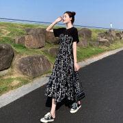【ドレス女性夏】2021年夏ドレス女性新ミドル丈ヘップバーン風気質ステッチフローラルスカートハイウエストスリミングロングスカートサマーブラックL