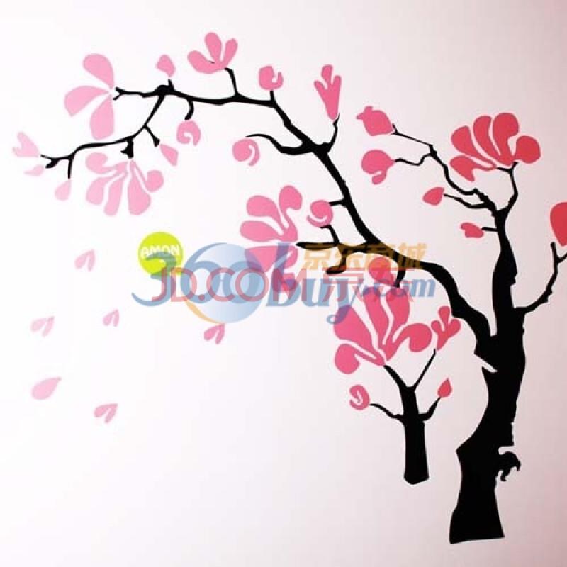 桃花树简笔画手绘彩铅画
