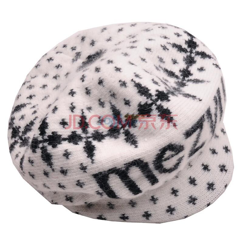 柏汇优品韩版女士兔毛带帽檐保暖时装帽BH2160字母白色