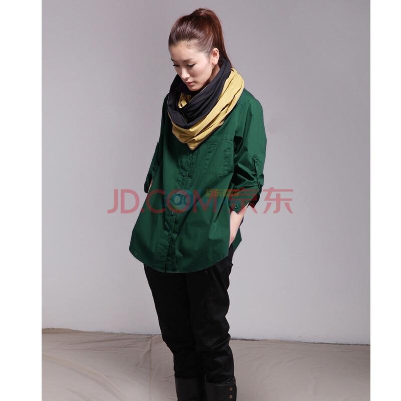 亚洲�9b�9l#�+_inman茵曼 原创风 新款长袖衬衫b8996绿色l