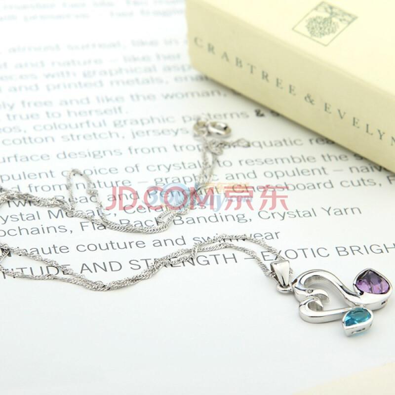 新光饰品 925纯银 情人天鹅水晶项链