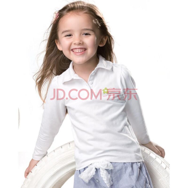 爱慕儿童随意搭女孩翻领上衣AK113212 白色