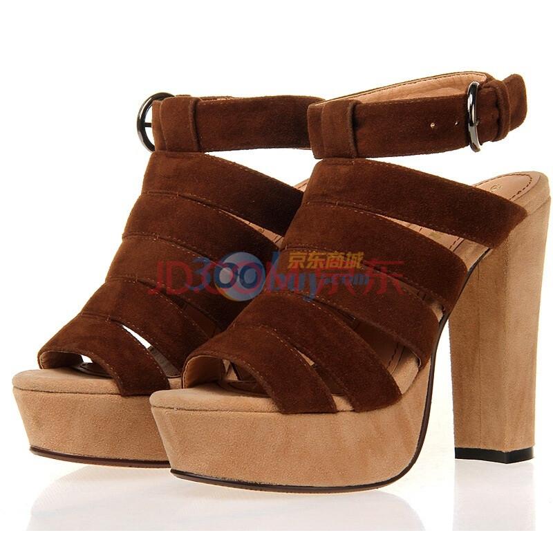 防水台粗跟厚底鞋 夏季vivi绒面百搭鞋