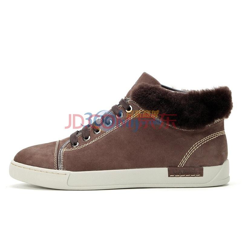 骆驼(camel)男鞋 时尚户外休闲羊头毛短靴保暖棉鞋