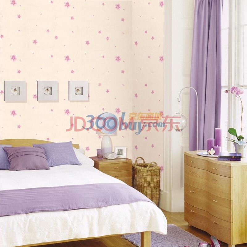 瑞de丝绸压花韩式清新淡紫色浪漫花瓣墙纸88