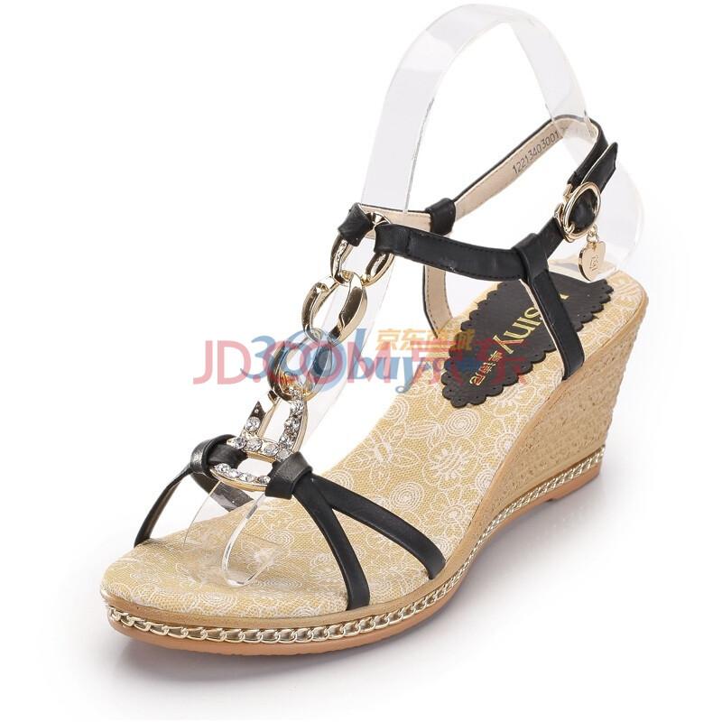 淑女带钻坡跟女式凉鞋