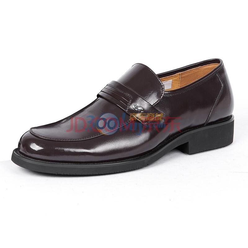 Fuguiniao/富贵鸟 正装鞋 头层牛皮商务套脚男士皮鞋T193781 棕色 44
