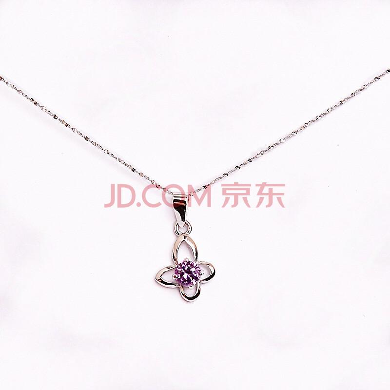 炫紫水晶搭配纯银兰花吊坠
