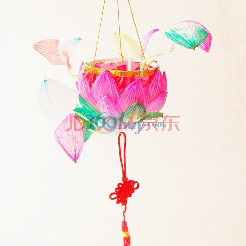 小鸡啄米 纯手工传统荷花灯 莲花灯 元宵节中秋节 手提纸灯笼 儿童图片