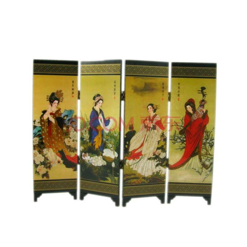 德宝城中国漆器仿古四扇屏风 四大美女图片