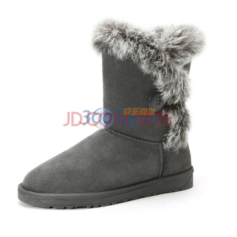 骆驼(CAMEL) 2013年冬季新款女款真皮雪地靴磨砂牛皮保暖毛里雪地靴 1101003 灰色 40